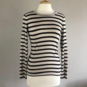 GAP classic oatmeal black striped sweater medium